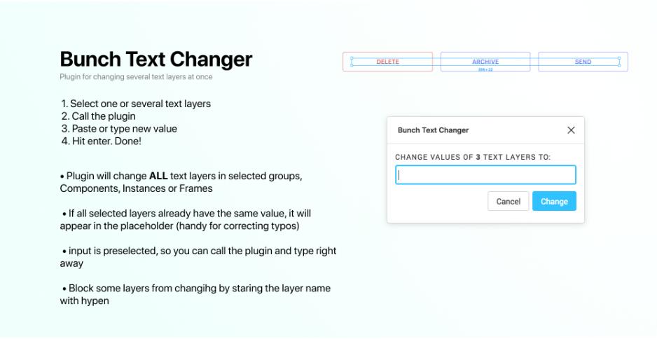 Плагин Bunch Text Changer для Figma