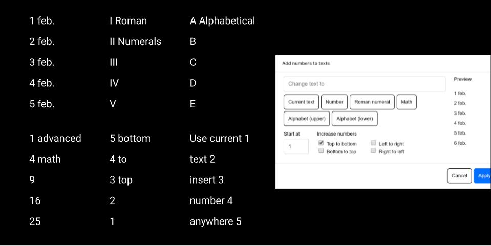 Плагин Add numbers to texts для Figma