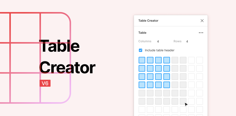 Плагин Table Creator для Figma