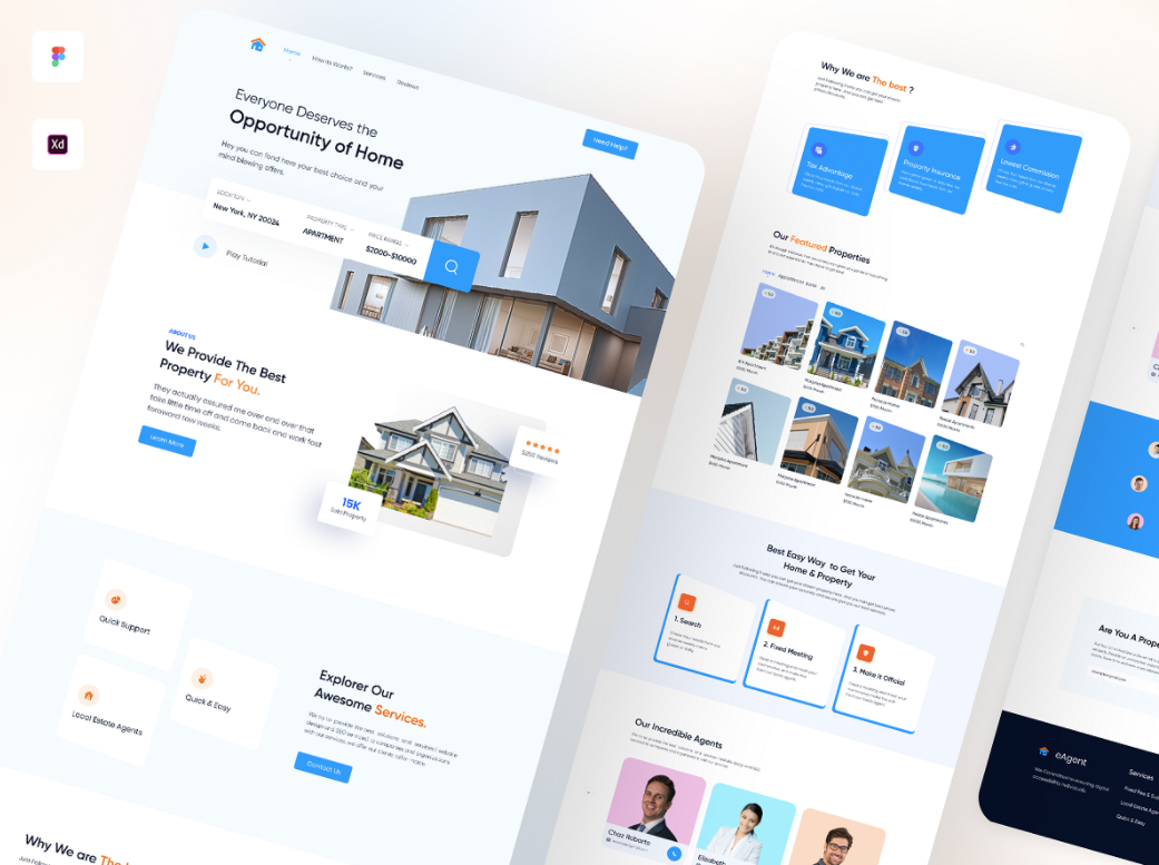 Шаблон Real Estate Landing Page для Figma