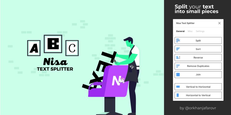 Плагин Nisa Text Splitter для Figma