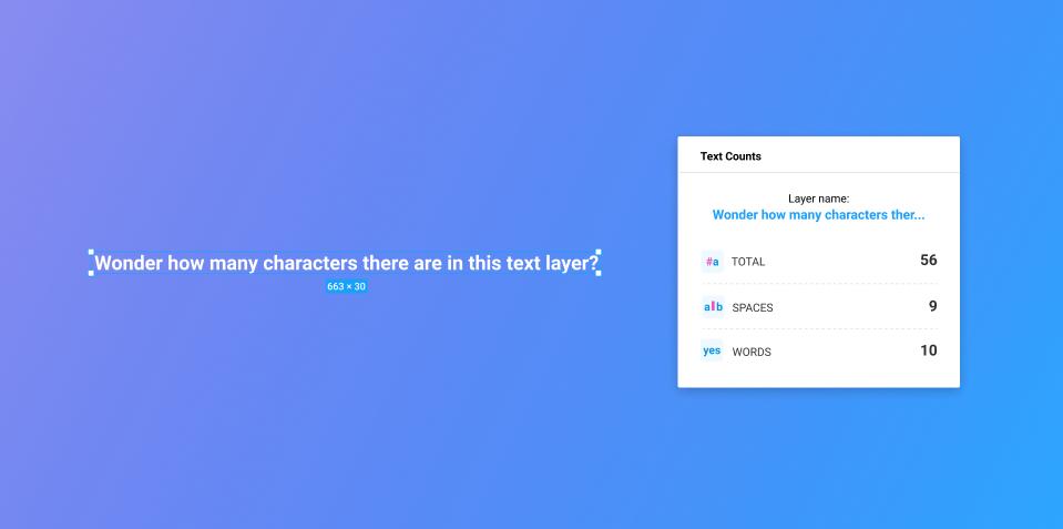 Плагин Text Counts для Figma
