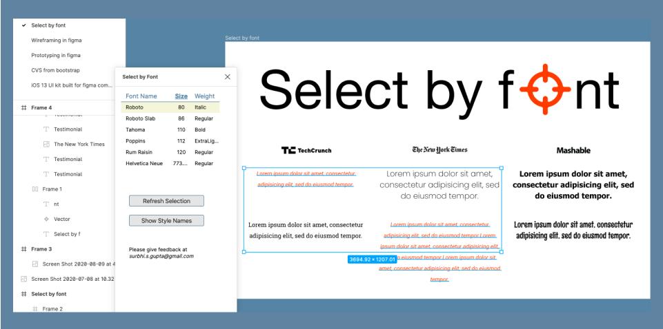Плагин Select by Font для Figma