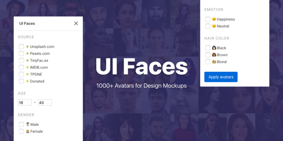 Плагин UI Faces для Figma