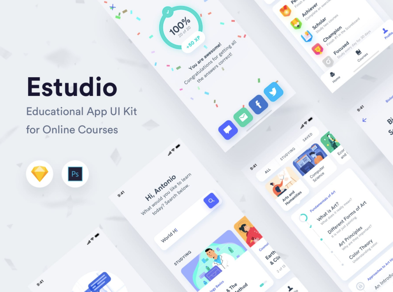 Шаблон Estudio - Educational Mobile App UI Kit