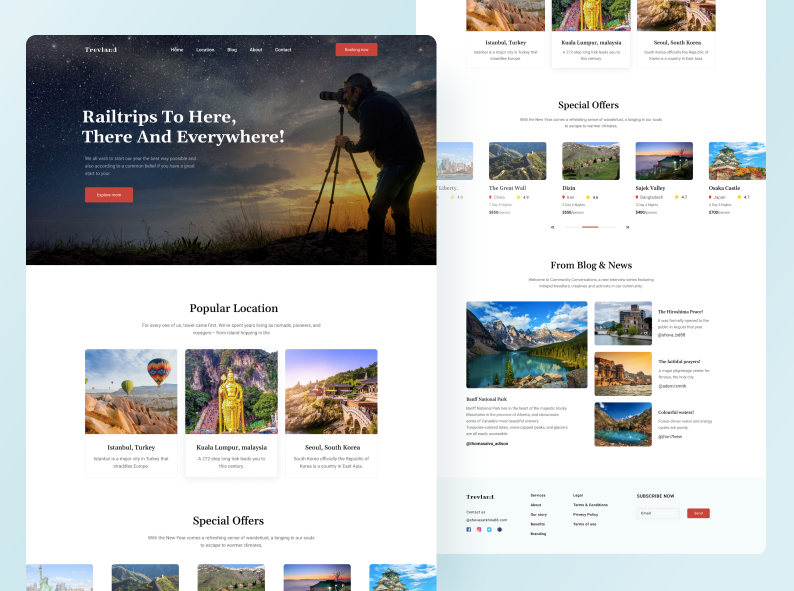Шаблон Traveland Landing Page для Figma