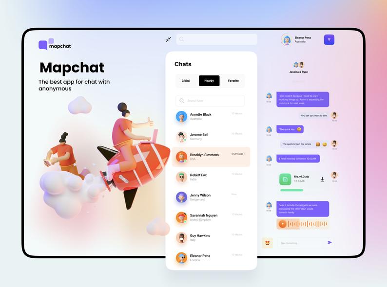 Шаблон приложения Mapchat для Figma