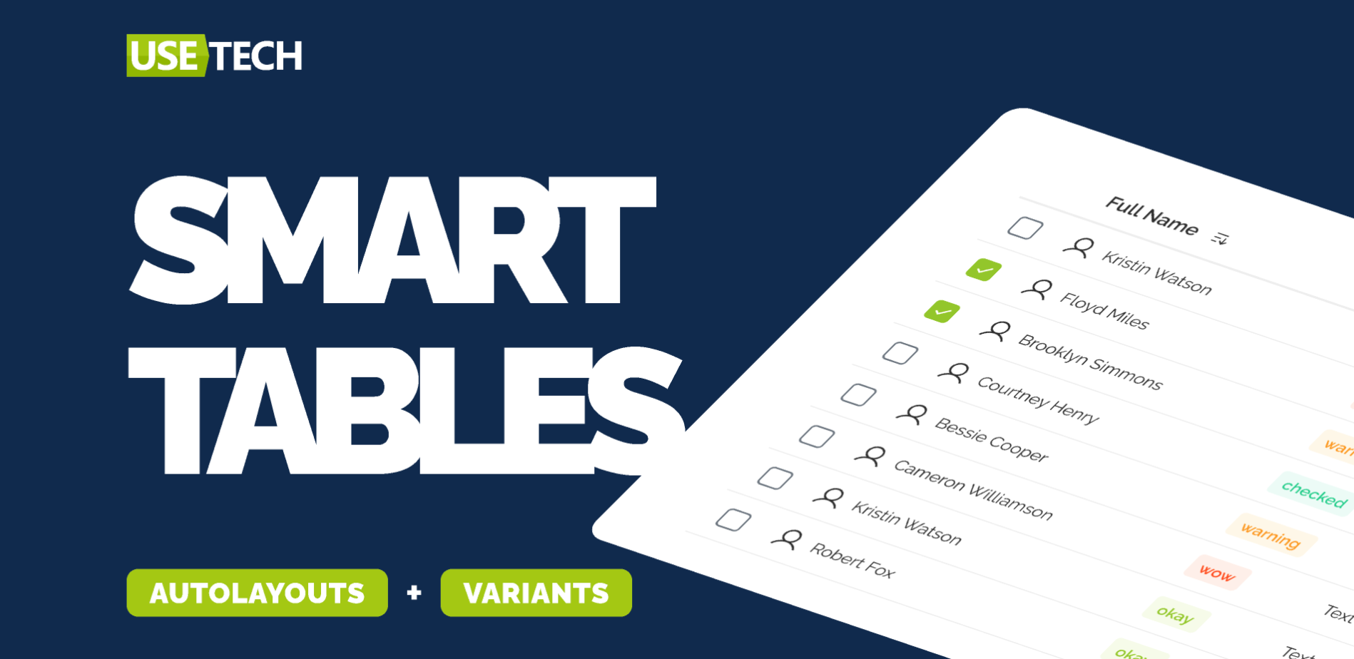 Smart Tables (AutoLayouts+Variants) для Figma