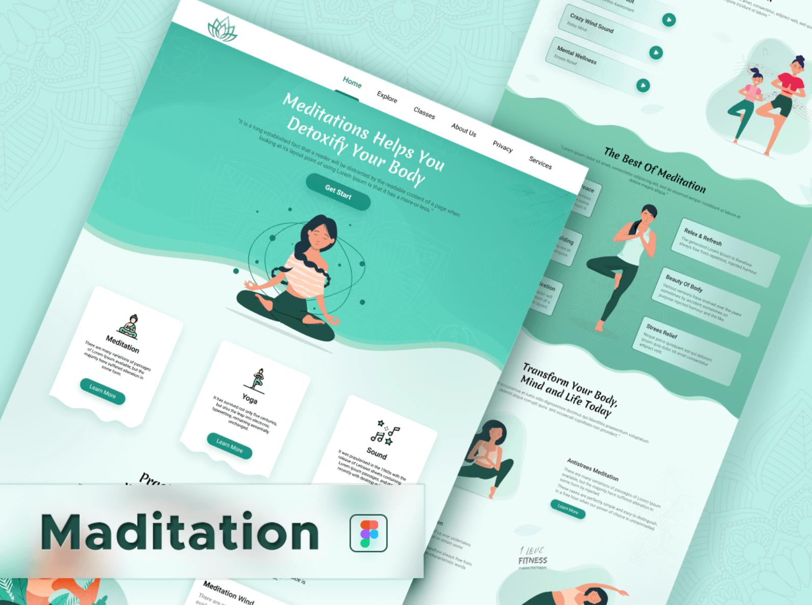 Шаблон Meditation Yoga для Figma