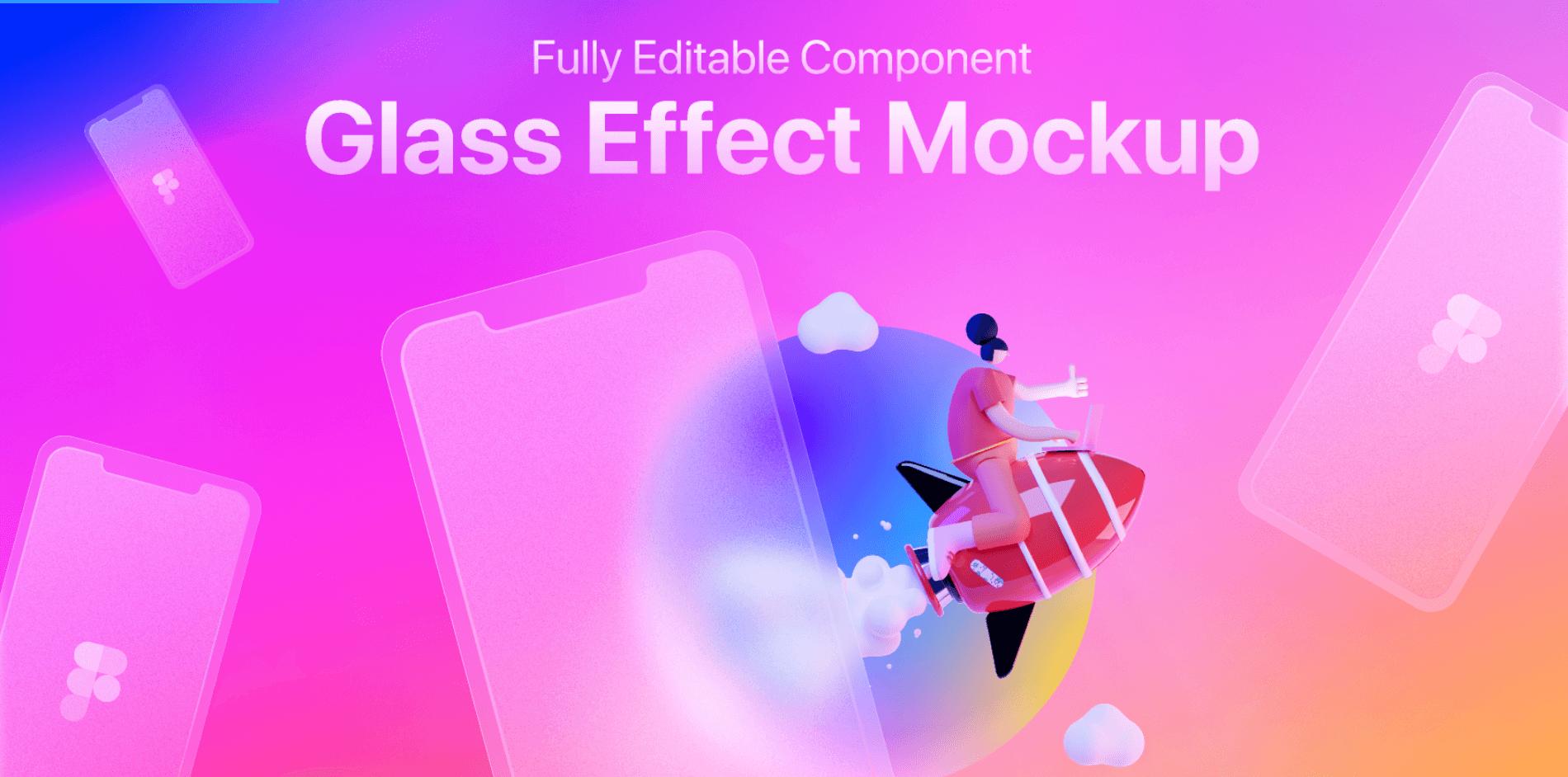 Мобильный мокап в стиле Glass Morphism