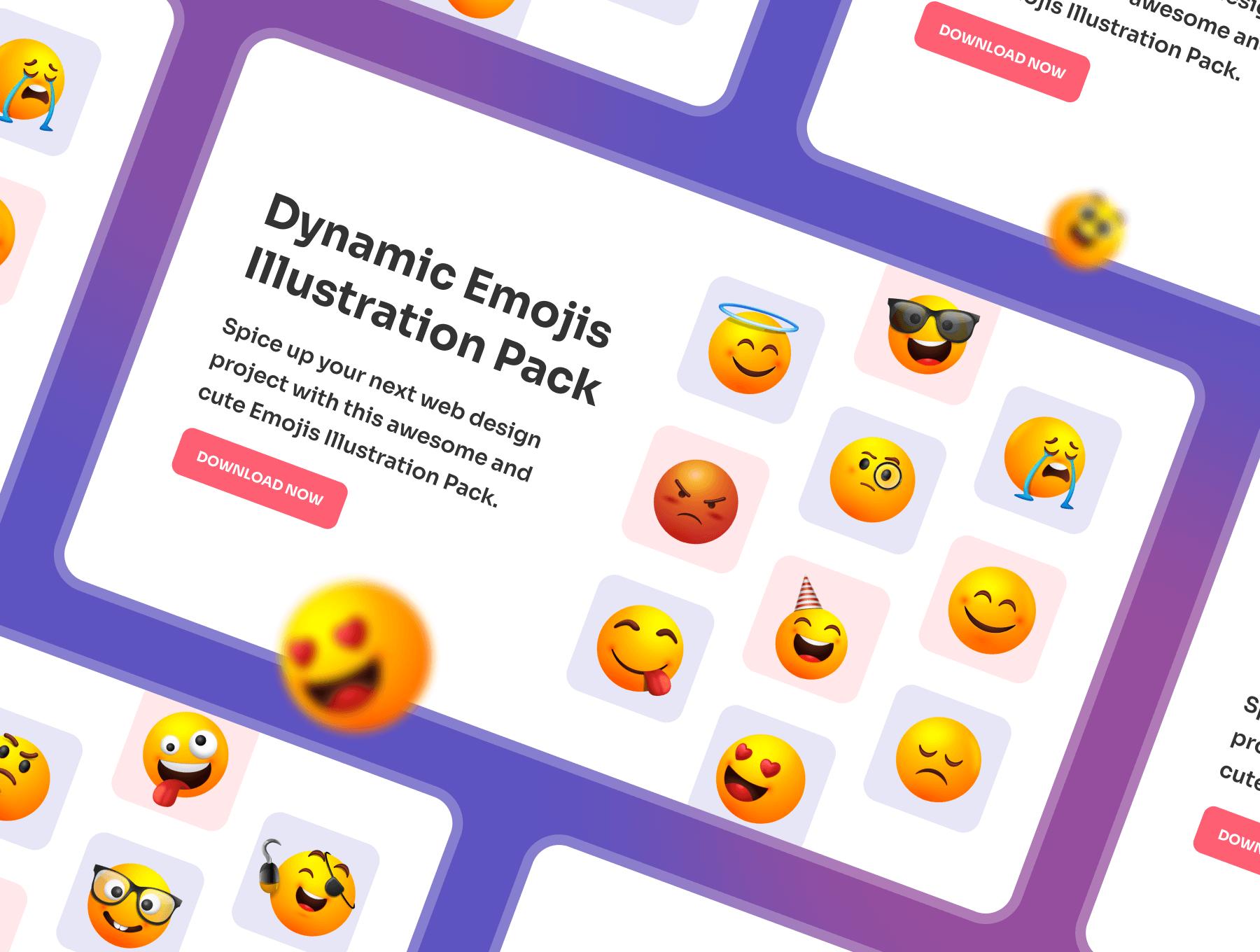 Dynamic Emojis Illustration Pack
