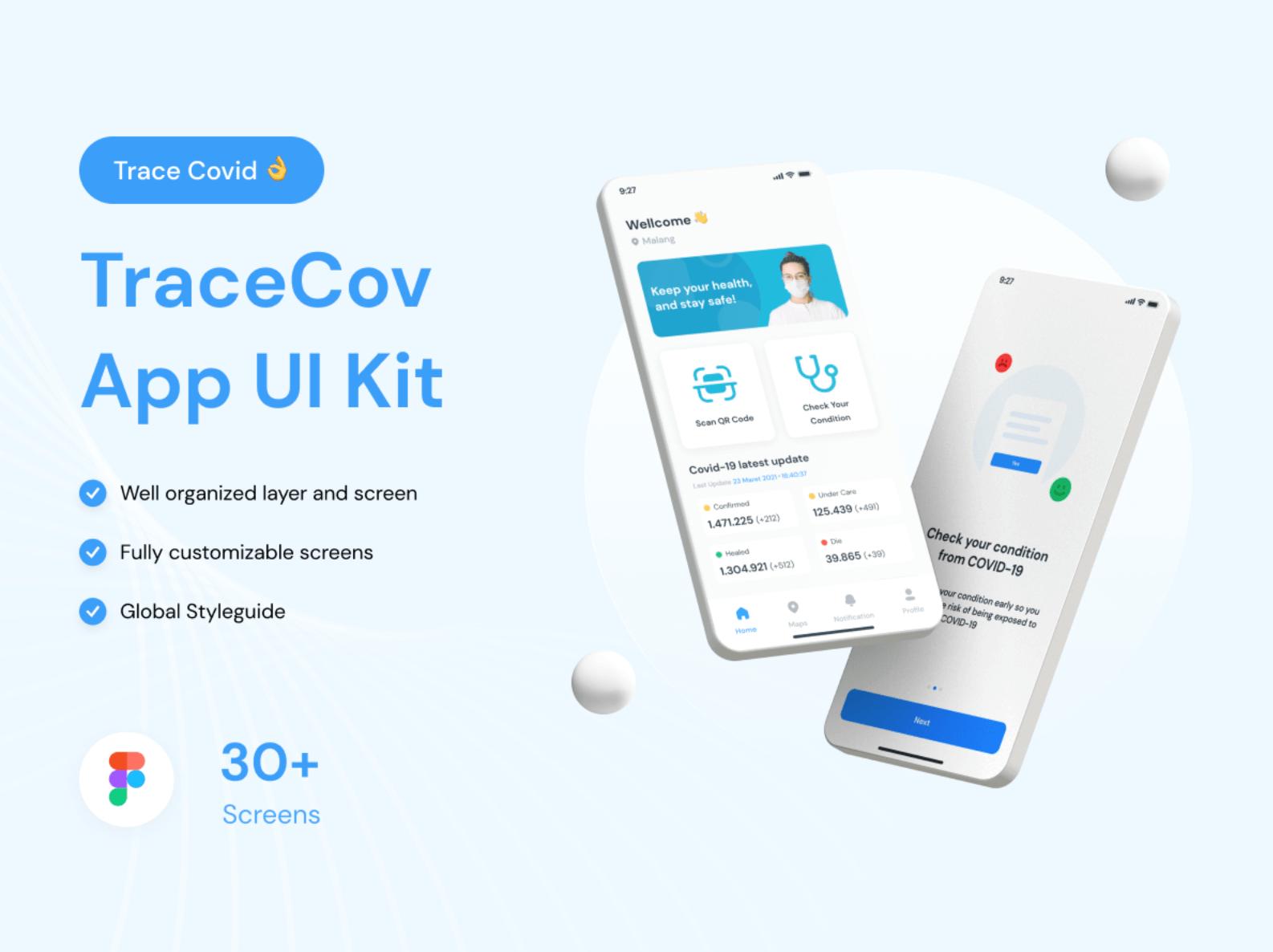TraceCov App UI Kit для Figma