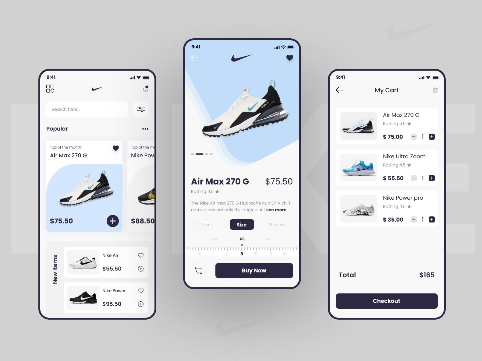 Шаблон Nike Shoes App для Figma