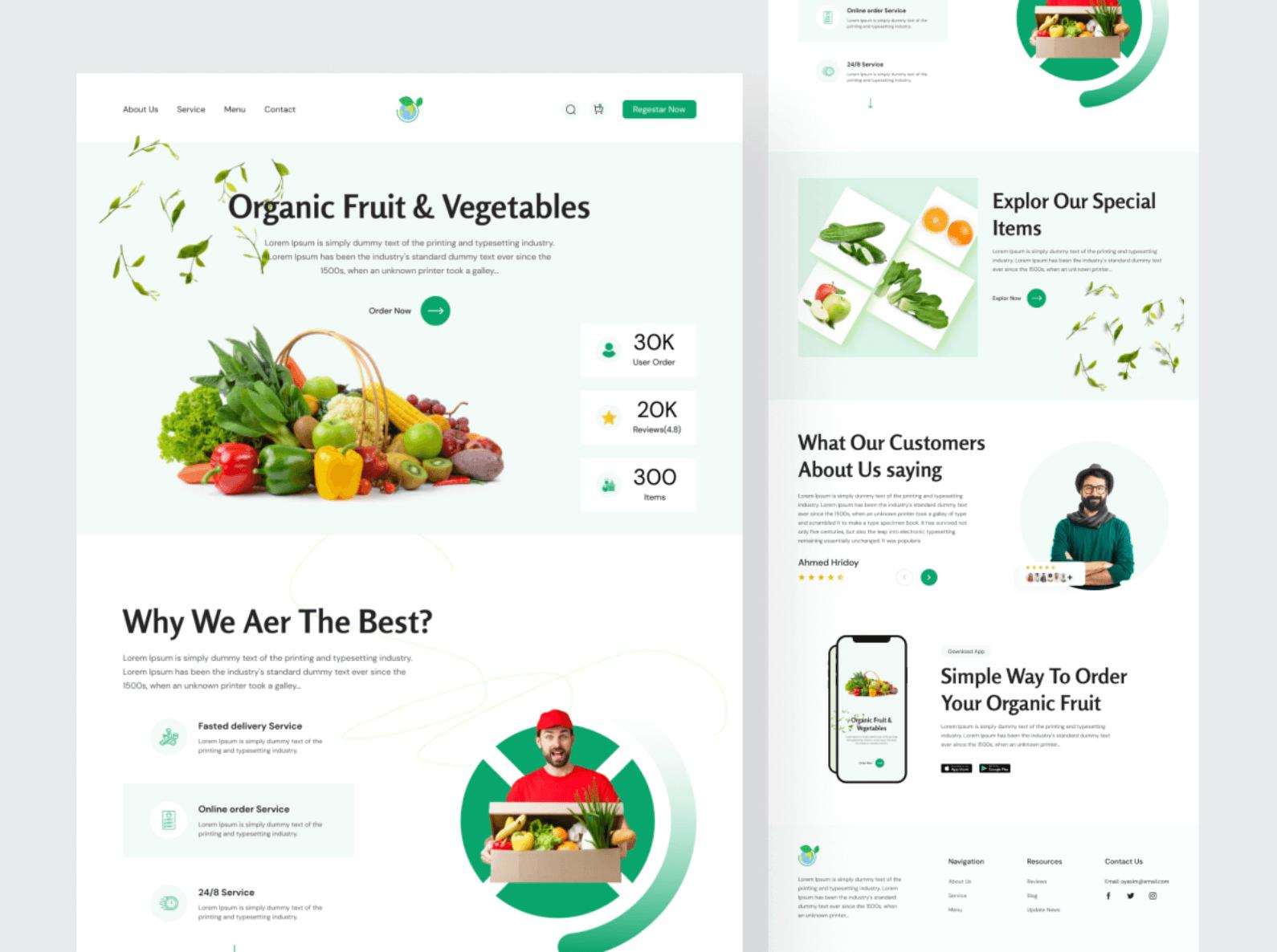 Шаблон Organic Food для Figma