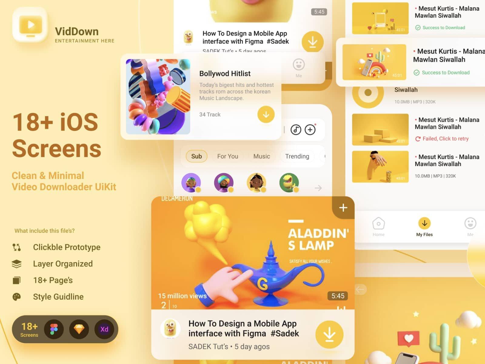 UI Kit VidDown App для Figma