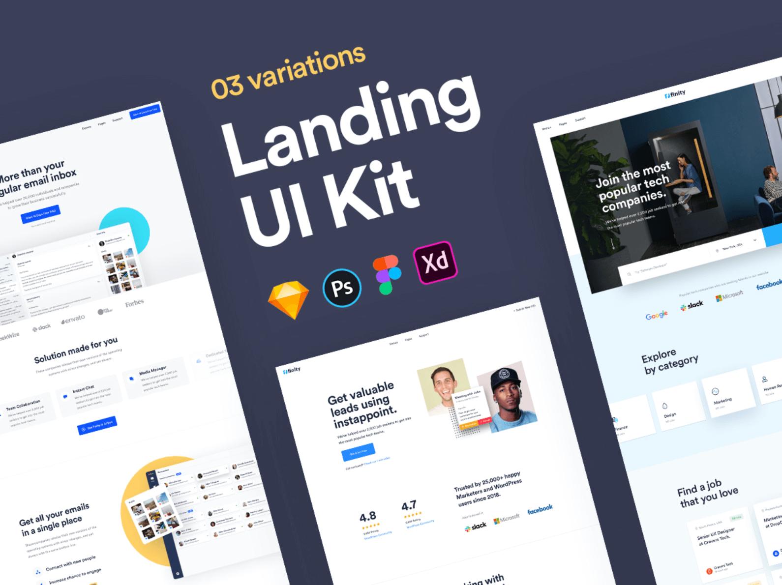 UI Kit Landing Page Finity для Figma